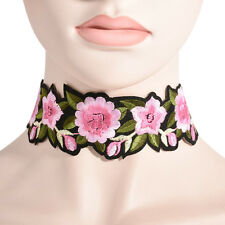 Vintage Flower Print Rose Embroidery Necklace Choker Collar Women Charm Jewelry