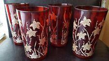 Set of 4 Red Royal Ruby Tumblers Glasses w/ Enameled Flowers - Pretty!