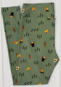 TC LuLaRoe Tall & Curvy Leggings Camping Fire Tent Paw prints Olive Green F36