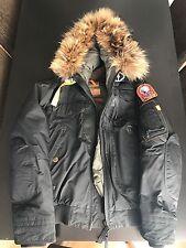 Parajumpers Men's MEDIUM Black Fur Parka- preowned/no defects *MINT CONDITION*