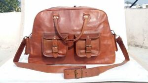Mens genuine Leather large vintage duffle travel gym weekend overnight bag