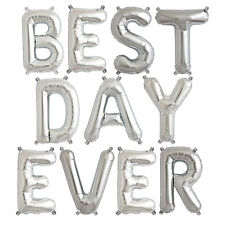 Party Supplies Silver 41cm Foil letters 'BEST DAY EVER' Birthday Baby Wedding