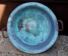 Antique Verdigris Copper Vat Garden Planter Pot With Iron Handles. Nice Log Bin