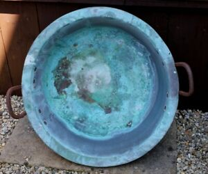 Antique Verdigris Copper Vat Garden Planter Pot With Iron Handles. Nice Log Bin
