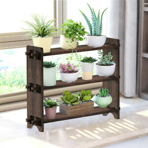 3 Tier Wooden Succulent Stand Tabletop Plant Holder Flower Pot Shelf Bookshlf