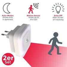 2er Set Steckdosen-Lampe LED Treppen-Leuchte Nacht-Licht Bewegungsmelder Sensor