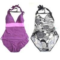 Womens One Piece Bather Swimsuit Size 10 12 14 Halter Swimwear Black Purple