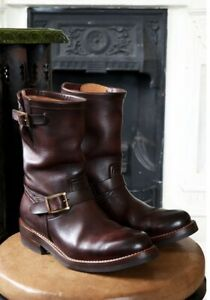 Handmade Men's Brown Leather motorcycle boots, Men brown work boots, Mens boots