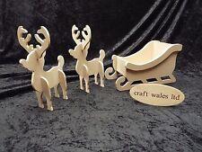Santa's Sleigh & two Reindeer MDF Wooden Christmas Decoration Xmas Santa
