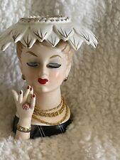 "Vintage Napco 1956 C3282 Lady Head Vase Feather Hat 5 1/2"""