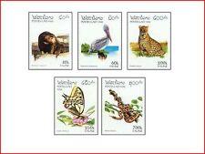 LAO9603 Nature conservation of Asia, birds, wildlife, butterflies 5 pcs