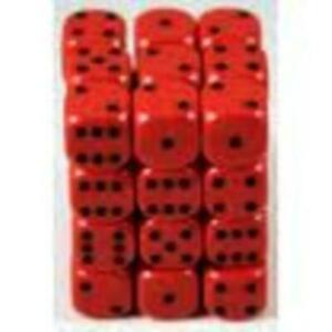 Chessex Opaque Dice d6 12mm Red w/Black (36) New
