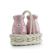 Salz- und Pfefferstreuer mit Korb Gmundner Keramik Dirndl rosa