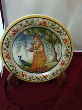 15cm Beautiful Marble Decorative Plate Hand Painted Art with stand