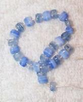 VINTAGE MOTTLED JAPANESE BLUE GLASS BEADS*40 BEADS* BLUE