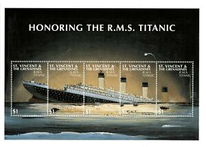 St. Vincent 1997 SC# 2500 Honoring the Titanic, Ship - Sheet of 5 Stamps - MNH