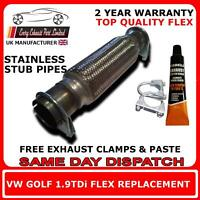 VW Golf 1.9TDi 1997-2006 Exhaust Replacement Flex/Flexi Pipe For Cat Pipe