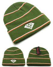 Diamond Supply Company New Stripe Cuffed Olive Knit Skull Beanie Era Hat Cap