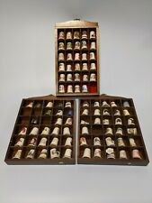 More details for fine bone china thimble collection includes 84 thimbles and display cases