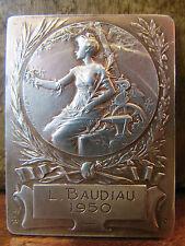 ancienne grosse medaille plaque en argent sculpteur rasmuny  68 g 6 x 4,5 cm