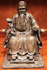 "Vintage Bronze Chinese Money God Sitting Statue Figurine 10"""