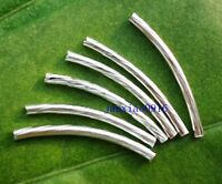 Hot 100pcs Silver Plated Curved Tube Spacer Beads Jewelry Findings DIY 20x2mm