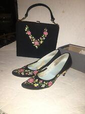 Vtg Back Stiletto Pumps Shoes Embroidered Flowers W Matching Handbag Purse