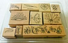 Lot of 10 Stampin' Up Wooden Stampers - Flowers, Leaves, Bee - Free Shipping