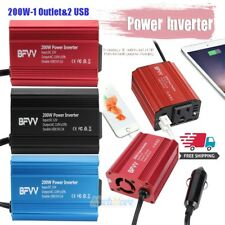 200W Power Inverter for Car DC 12V to AC 110V Outlet 2 USB Adapter Charger USA