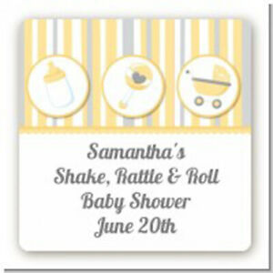 Shake Rattle Roll Yellow Square Personalized Baby Shower Stickers