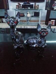 Black Marbled Ceramic Cat Statue