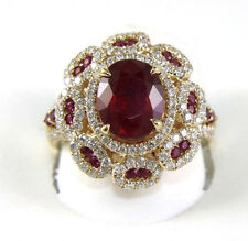 Oval Red Ruby & Diamond Halo Weave Solitaire Ring 14k Yellow Gold 5.00Ct