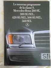Mercedes Clase S FOLLETO agosto 1985 300 Sel, 420SEL, 500SEL, 560SEL texto en francés