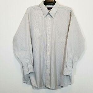 STAFFORD Mens Gray/Black Stripe Dress Shirt Size 18 The Super Shirt Long Sleeve