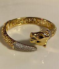 Bronze Milor Italy Bracelet Cuff Lion Panther Tiger Rhinestone Tail