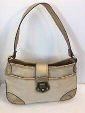 Etienne Aigner Shoulder Bag Tan Beige Jute Cotton with Gold Faux Leather Trim