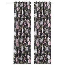 New ROSENMOTT Block-out curtains, 1 pair, black floral patterned,145x250 cm IKEA