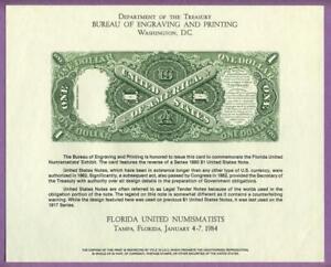 """BEP 1984 FUN Florida B64 Souvenir Card 1880 $1 """"Sawhorse"""" Legal Tender Note Rev."""
