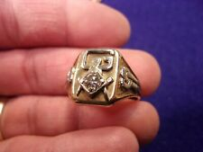 "#4 of 4, RARE VTG 10K GOLD & 3/8 CARAT DIAMOND MASONIC COMPASS RING, ""CABLE TOW"""