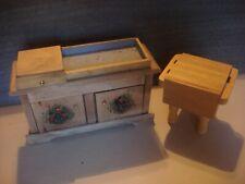 Dollhouse Furniture 1 Kitchen Island w/Drawer & 2 Doors & 1 Butcher Block Island