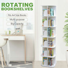 Square / Round Swivel Rotating Display Bookshelf Bookcase White 3/4/5/6 Tiers