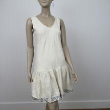 Caron Callahan Linen Dress Beige Cotton Blue Embroidered Sleeveless Size 6