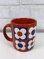Vintage Waechtersbach West Germany Mug Coffee Cup Flower Power Red Blue White