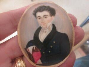 Great - 1810 - 1830 - HP  MINIATURE PORTRAIT PAINTING of MAN - FOLK ART