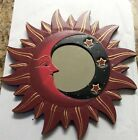 """MOON & STARS MIRROR 11.5"""" Hand Carved & Painted NEW RED"""