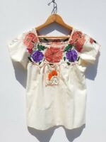 VINTAGE OAXACAN TOP ~ 50's CREAM Cotton Embroidered Mexican Peasant Blouse ~ S