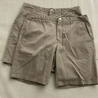 "*LOT OF 2* Bonobos 36 x 9"" Khaki Flat Front Flex Cotton Casual Chino Shorts"