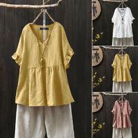 ZANZEA Women Short Sleeve Frill Shirt V Neck Blouse Oversize Plain T-Shirt Tops