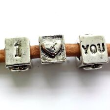30 Silver Tone 7mm Love Bead Hole 5mm European Charm Bracelet