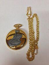 Golf Putting Green pewter effect sport emblem on a gold quartz pocket watch